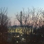Sunset view of Lafayette Park, the White House and the Washington Monument fro