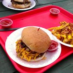 Texas Bar B Que burger with cheese bacon fries and St Arnold's Santo beer!! Gr