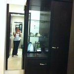 Full length mirror , closet & ammenities
