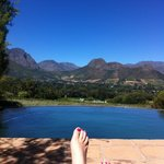 View over pool to Franschhoek mountains