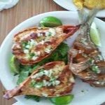 Lobster tails & porgie broiled