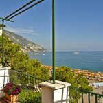 View of Spiaggia Grande and sea from our balcony, Hotel Buca di Bacco, Positan