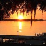 Watching a beautiful sunset over the lake.