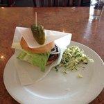 Backyard burger and coleslaw
