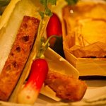 Baked Mache-Coulais with radishes and croutons