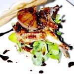 Balsamic and fig baked quail on potato rosti