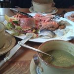 Delicious aubergine soup and cold seafood platter at the Port Charlotte Hotel,