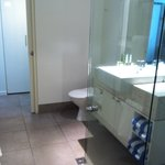 Bathroom of two bedroom apartment. Two entrances, shower only