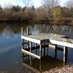 The dock and pond in warmer weather. Breakfast can be enjoyed here.
