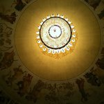 Beautiful old chandelier and ceiling murals