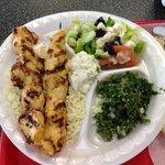 chicken Kabob plate / tabouli