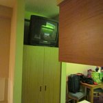 TV atop wardrobe but can be seen from either bed Microtel Pigeon Forge, TN