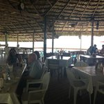 An open air palapa right on the water