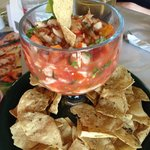 A huge portion of delicious conch ceviche