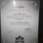 Awards given to Hotel Kalyan for their Stellar Performance.Awarded as Platinum Hotel in Jaipur