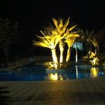 One of the pools beautifully lit at night