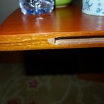 Chipped bedside table shelf