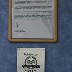 Tripadvisor Auszeichnung für 2013 - bereits im Februar