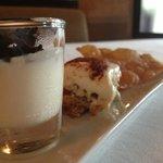 Italian Trio Medley dessert of Panna Cotta, Tiramisu, and Strapole