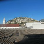 View of El Panecillo from the hotel breakfast room