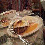 Main course Portuguese steak.