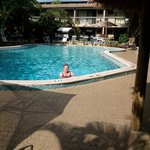 This is the wonderful pool located just outside our deck garden and with many