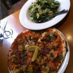prawn pizza and salad