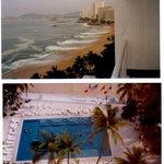 Deck do hotel vista da baia de acapulco e abaixo a piscina