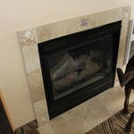 Gas Fireplace, you just flip a switch and it lights up!