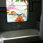 Stained glass window in Puebla bathroom