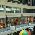 Hotel atrium is accessible to shopping entrances