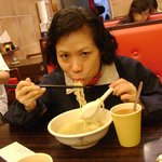 Enjoying a Bowl of Hot Teochew Meat-Ball Noodle