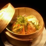 marinated steamed salmon with bok choi and chinese oyster sauce dressing