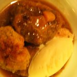 Ox-tail casserole with stilton pudding