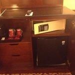 inside cabinet, safe and fridge