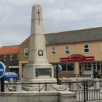 Pinnacles Fish Restaurant from the War Memorial in Seahouses, Northumberland.