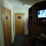 Wardrobe stand, bathroom door and door to corridor