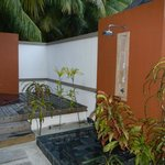 Our outdoor shower and jacuzzi.