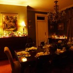 Diningroom decked out for Mardi Gras