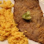 Yellow rice & breaded steak