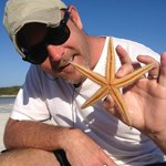 Dusty and his starfish on Rose Island