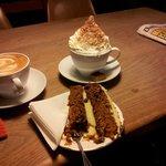 coffee, hot chocolate and cake