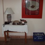 Room service tray at hallway