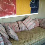 One of 2 sofas on private lanai for makai room, Diamond Head b&b, Oahu