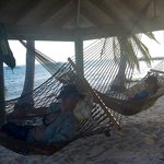 Hammocks in front of the condos