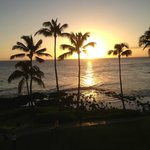 sunset view from lanai of 4th floor Deluxe Ocean Front room, Ocean Wing, Sheraton Kauai