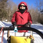 On the back of the dog sled and loving it!