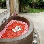 Flower Bath in open bathroom at  Casa Mia room