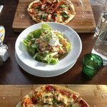 Pizzas (one seafood, one crayfish) especially good value, and Caesar salad lov