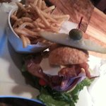 The Dagwood sandwich and shoestring fries at the Square Root restaurant.